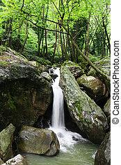 waterfall., táj