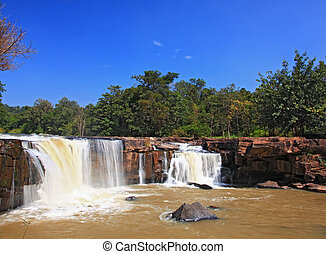 waterfall Tadtone in climate forest of Thailand from top