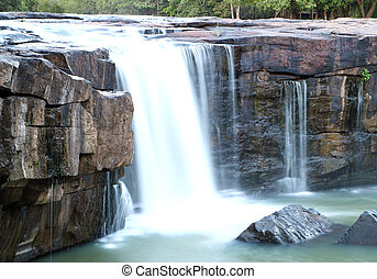 waterfall Tadtone in climate forest of Thailand top perspective