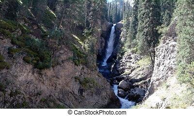 Waterfall Tears Leopard (Barsa), Barskoon gorge, Issyk Kul...