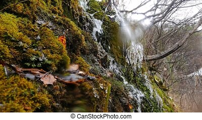 Waterfall, the overall plan. Russia. UltraHD (4K)