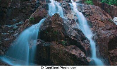 waterfall timelaps on hard rock