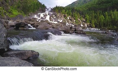 Waterfall Uchar. Altai mountains, Siberia, Russia