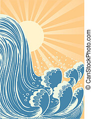 Waterfall. Vector blue water waves background with sun