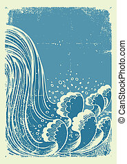 Waterfall. Vector grunge blue water waves on old paper background