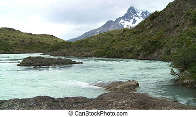 Waterfall - Waterfall. Torres del Paine National Park,...