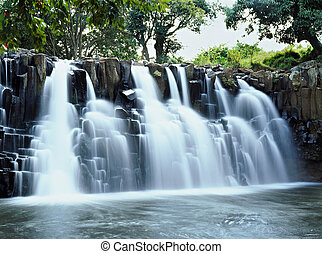 Waterfall - Wide rock waterfall in Mauritius island