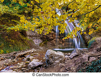 waterfall with a branch of the tree in the foreground