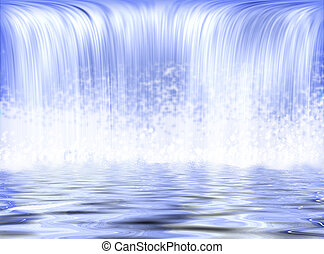Waterfall with a lake on the shades of blue