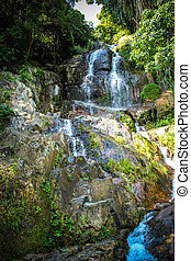 Waterfall with pool in tropical jungle, Na Muang, Koh Samui