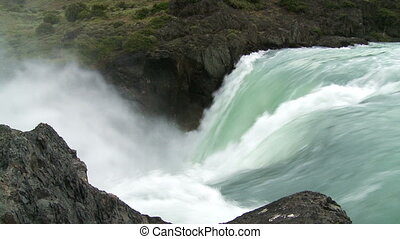 Waterfall with sound - Waterfall. Torres del Paine National...