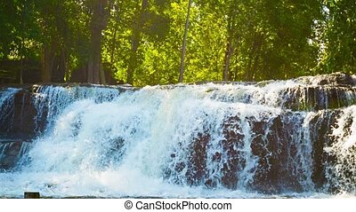 Waterfall with zoom. Cambodia, Siem Reap. - Video 1080p -...
