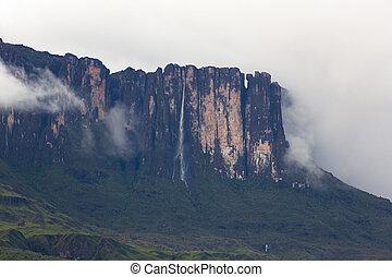 Waterfalls and clouds at Kukenan tepui or Mount Roraima. Venezuela