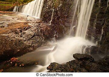 Waterfalls at a dam