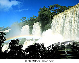 Waterfalls called Las tres hermanas (the 3 sisters), on Iguazu Park, Argentina, on a sunny day
