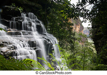 Waterfalls cascading over rocks in Wentworth Falls, New South Wales, Australia