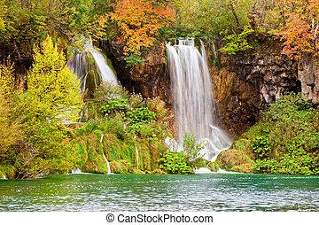 Waterfalls in Autumn Scenery