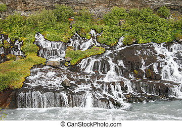 Waterfalls in Iceland - Hraunfossar, Borgarfjordur, Iceland....