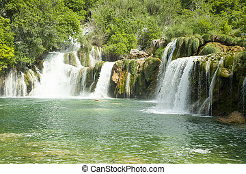 Waterfalls in national park. Krka National Park, Croatia