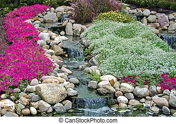 waterfalls in rock garden