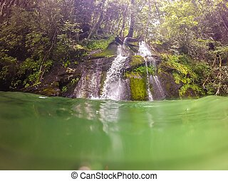 waterfalls in the mountains on lake jocassee south carolina