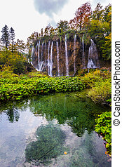 Waterfalls in the Plitvice lakes