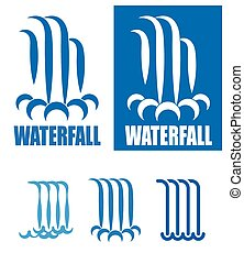 waterfalls logo set - stylized images of waterfalls. It can ...