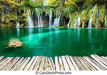 Waterfalls of Plitvice National Park in Croatia