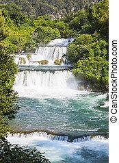 Waterfalls on Krka river in Croatia