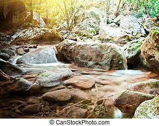 Waterfalls on mountain river