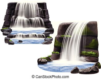 Waterfalls Realistic Compositions - Set of two natural...
