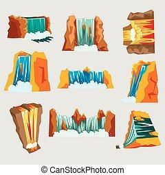 Waterfalls set, cascading streams of various shape cartoon...