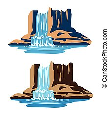 Stylized illustration waterfalls