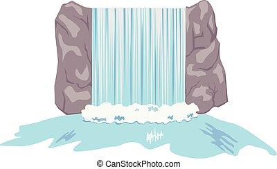 Waterfalls vector - Vector illustration of a rocky...