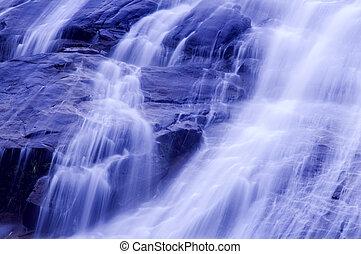 Waterfalls. - Waterfall in japanese garden, blue tone.