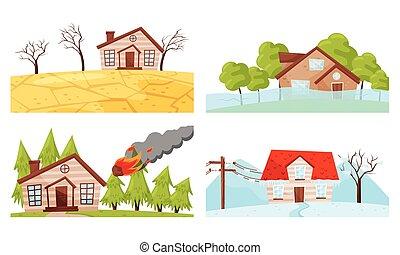 waterflood, ilustraciones, natural, conjunto, fuego del ...