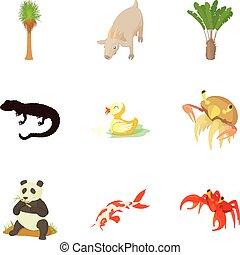 Waterfowl icons set, cartoon style
