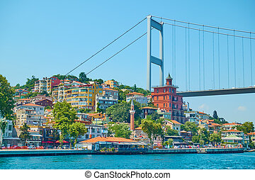 Waterfront and Bridge over Bosporus in Istanbul