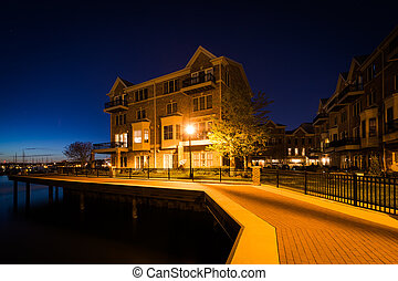 Waterfront apartment building at night, in Canton, Baltimore, Maryland.