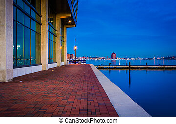 Waterfront building at twilight in Fells Point, Baltimore,...