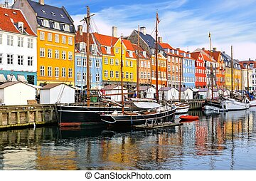 Waterfront buildings and ships along Nyhavn canal, Copenhagen, Denmark