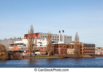 Waterfront buildings at the Weser river in Bremen, Germany