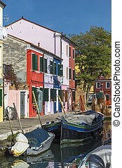 Waterfront canal on the island Burano
