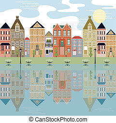 Waterfront Cityscape with relection - Cityscape on the ...