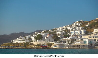 Waterfront district in Mykonos (Chora) town in the daytime