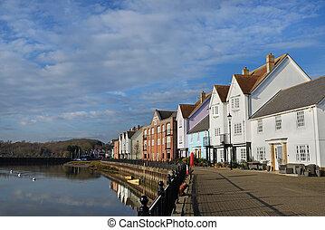 waterfront, essex, wivenhoe, uk, épület
