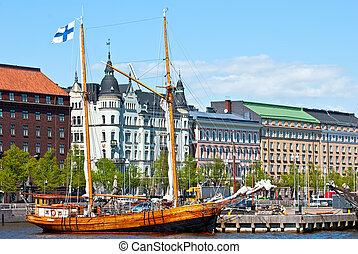 Waterfront Helsinki. - Old embankment Helsinki. The area of ...
