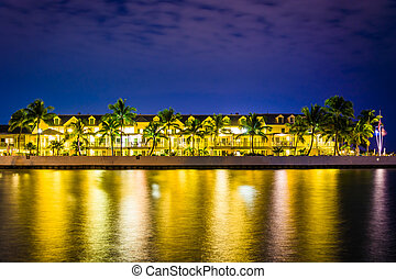 Waterfront hotel at night, in Key West, Florida.