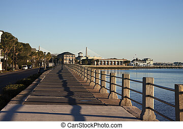 Waterfront in Charleston, South Carolina seen in the morning