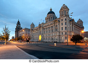 Three Graces and Liver building on waterfront in Liverpool, England